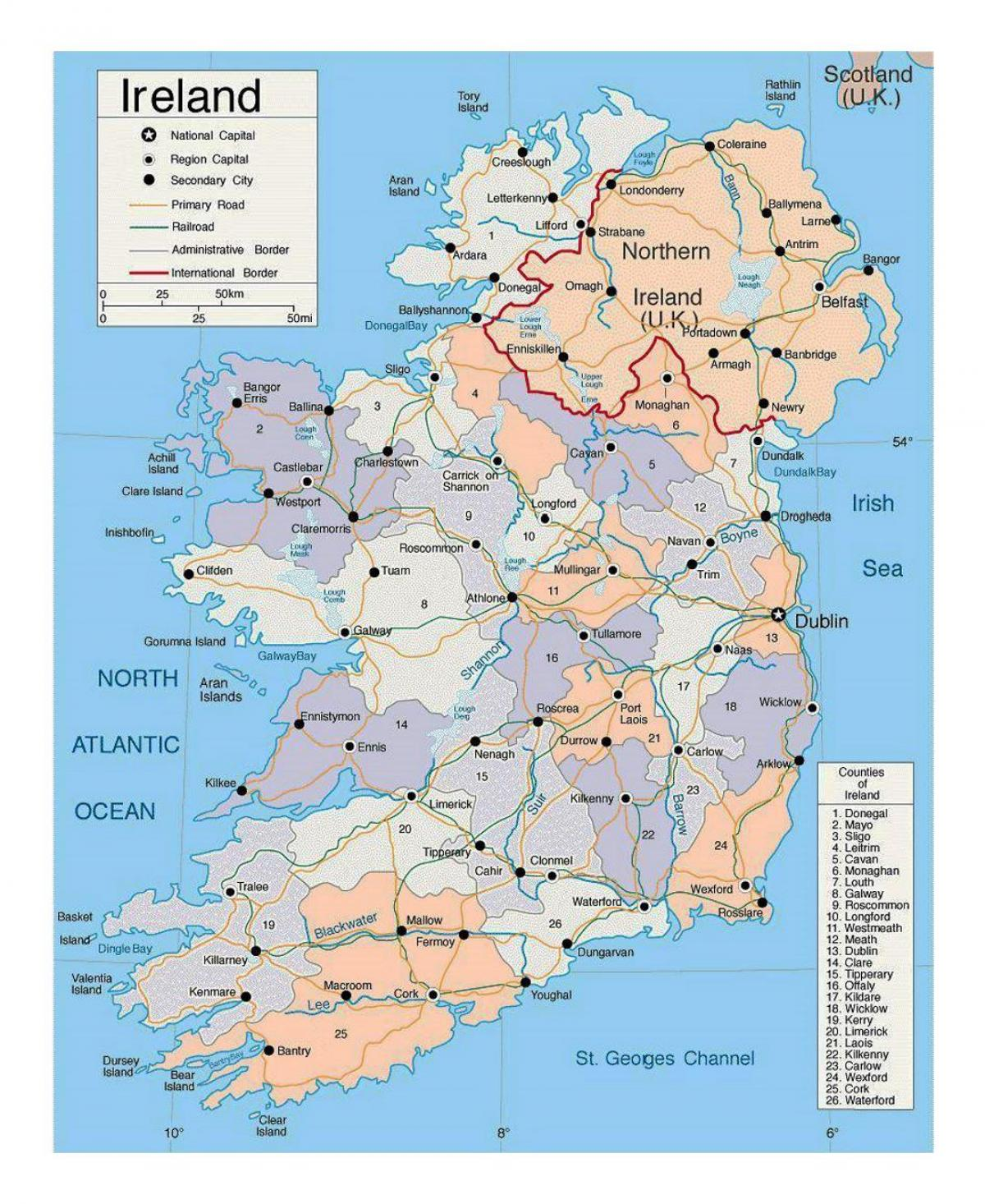 kart over irland Irland byer kart   Kart over irland med byer (Northern Europe  kart over irland