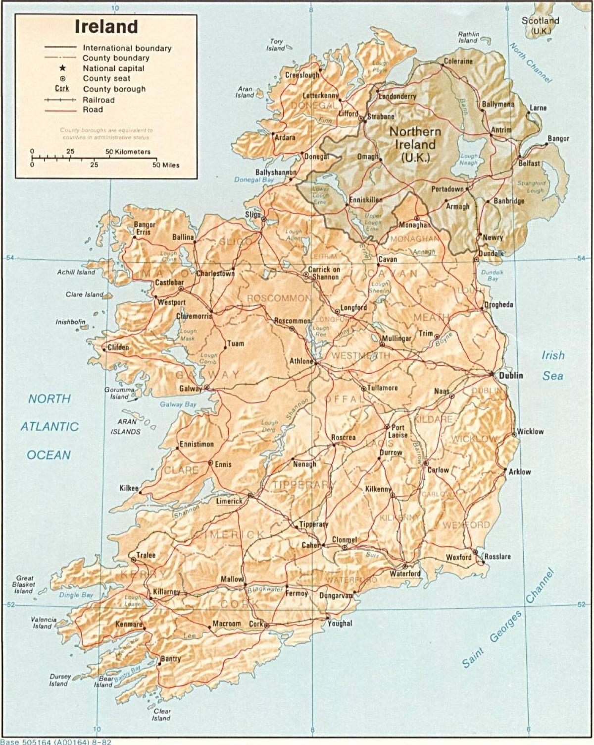 Stort Kart Over Irland For Salg Kart Stort Kart Over Irland For